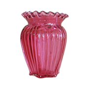 Fenton Country Cranberry 9055 Ribbed Vase