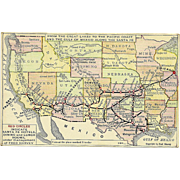 Santa Fe Railroad Map Postcard Antique Fred Harvey