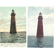 2 Minot Ledge Light Lighthouse Postcards Boston Harbor Lovers Flash