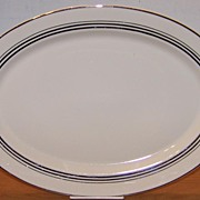 Syracuse China Platter Old Ivory Nimbus Platinum Large 16 by 11 inches