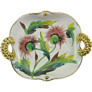Mid Century Modern MCM Italian Granulation Glaze Pottery Tray Dish Thistle