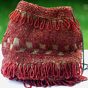Oxblood Red Beaded Art Deco Flapper Drawstring Reticule Purse