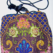 Floral Glass Beaded Drawstring Reticule Purse Flower Shell Pattern
