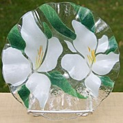 Sydenstricker Art Glass Floral Ruffled Bowl with  White Irises