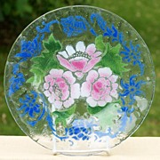 "10"" Sydenstricker Art Glass Floral Plate  - Pink Roses w/ Blue Accents"