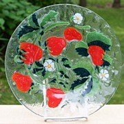 Sydenstricker Art Glass Strawberry Plate