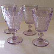 SOLD 4 Vintage Westmoreland Princess Feather Goblets - Sun Purple