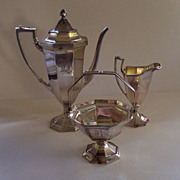 "REDUCED Antique Silver Plate Meriden Coffee Set - Monogrammed ""B"""