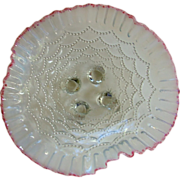 """REDUCED Antique Northwood """"Beaded Drapes"""" Opalescent Bowl - Cranberry Rim"""