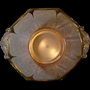 REDUCED Vintage Elegant Etched  Pink Octagon Bowl- Gold Overlay