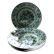 "REDUCED Five Antique Staffordshire ""Onion"" 9"" Soup Bowls"