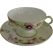 Beautiful Antique Haviland France Footed Cup & Saucer Hand Painted Roses