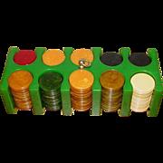Mini Green Catalin Bakelite Poker Chips (197) in Original Box
