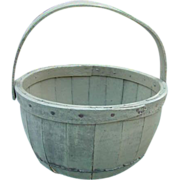 Primitive New England Apple Basket in Old Paint