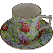 James Kent Old Foley Chintz Hydrangea Demitasse Cup & Saucer