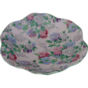 Shelley Pink w Blue Green Flowers Chintz Small Pin Dish or Tray