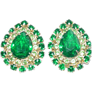 Juliana D&E Pear Shaped Large Green Rhinestone Earrings