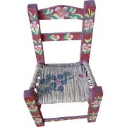 Hand Painted Mexican Folk Art Rush Seat Child's Doll Chair