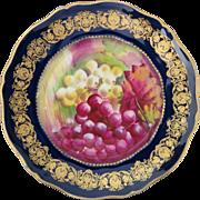 Haviland Limoges Cobalt Blue, Gold & Grapes Handpainted plate