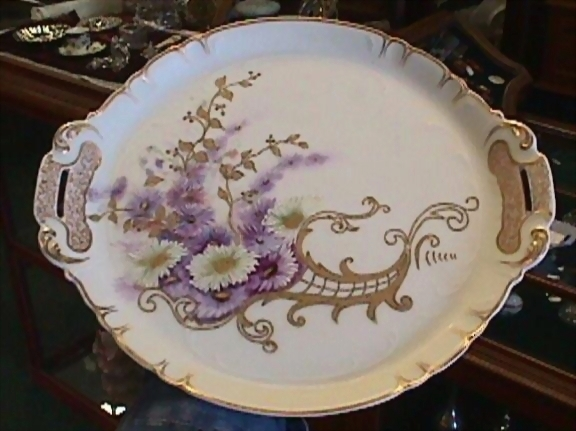 Limoges Handled Tray Handpainted Florals From