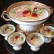 SALE Nippon Handpainted Punch Bowl & 4 Cups