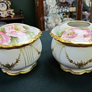 Limoges Handpainted Vanity Jar & Hair Receiver - Roses