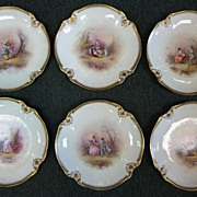 1800's Limoges Set of 12 Cabinet Plates with Courting Couple Scenes – Gold