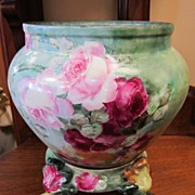 Gorgeous Hand Painted Limoges Jardiniere - Roses & Paw Foot Base