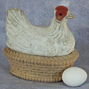 Papier Mache Chicken on Nest Vintage Candy  Container