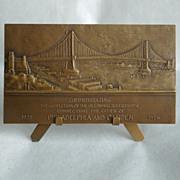 SOLD Leon Hermant Bronze Medallion Plaque Delaware River Bridge