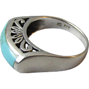 Sterling Silver Turquoise Ring, Elevated Open Work Scroll Setting, Size 8