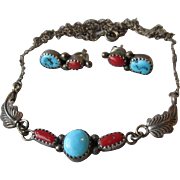 Vintage Navajo Artist Richard Begay Sterling Silver, Turquoise and Coral Necklace & Earrings S