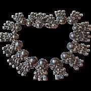 1940's Vintage Taxco Mexico 980 Silver Necklace, BOOK Piece