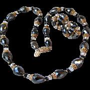 Shimmering 60's VENDOME Black Aurora Borealis Crystal Necklace & Earrings Set