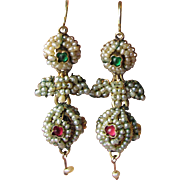 Antique Georgian Seed Pearl, Ruby & Emerald 10k Gold Pendant Earrings