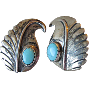 Vintage Native American Navajo Sterling Silver & Turquoise Clip Feather Design Earrings, Signe