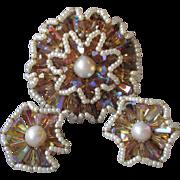 1950's Vintage VENDOME Ruffled Flower Tan AB Crystal & Faux Pearl Pin & Earrings Set, Book ...