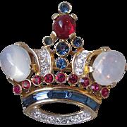 Vintage Philippe Trifari Rhinestone & Moonstone Crown Brooch Pin