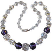 Elegant 1930's Art Deco Rock Crystal & Purple Czech Glass Bead Long Necklace