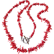 "Artisan Red Branch Coral & Bali Sterling Silver 34"" Long Necklace"