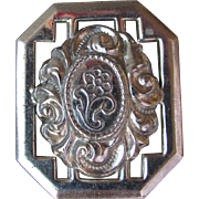 1940's Vintage Sterling Silver ROSE Cameo Pin