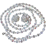 "Vintage 54"" Long Single Strand Aurora Borealis Crystal Necklace & Earrings Set"