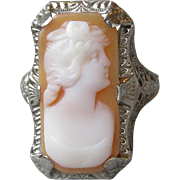 Antique Edwardian Ostby Barton 14k White Gold Filigree Carved Shell Cameo Ring, Titanic Histor