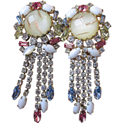 Ultra Glitzy MASSIVE Hobe Dangle Rhinestone & Venetian Art Glass Vintage 1960's Earrings