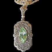 14k White Gold Filigree 1920's Art Deco PERIDOT & Pearl Vintage Pendant Necklace