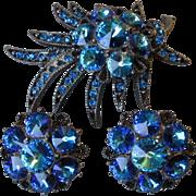 Incredible Signed WEISS AB Capri Blue Rivoli Japanned Pin & Earrings Set, Vintage 1960's Demi