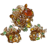 Vintage 60's VENDOME Abstract Faux Amber & Rhinestone Pin & Earring Set, Demi Parure On Acid