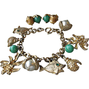Cute Vintage Sarah Coventry OCEAN Theme Charm Bracelet, Shells & Fish