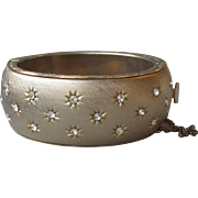 Vintage TRIFARI Wide Hinged Bangle Bracelet, Rhinestones In Stars