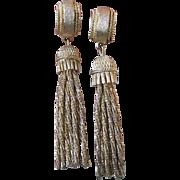Vintage 1960's VENDOME Long Dangle Tassel Etruscan Earrings